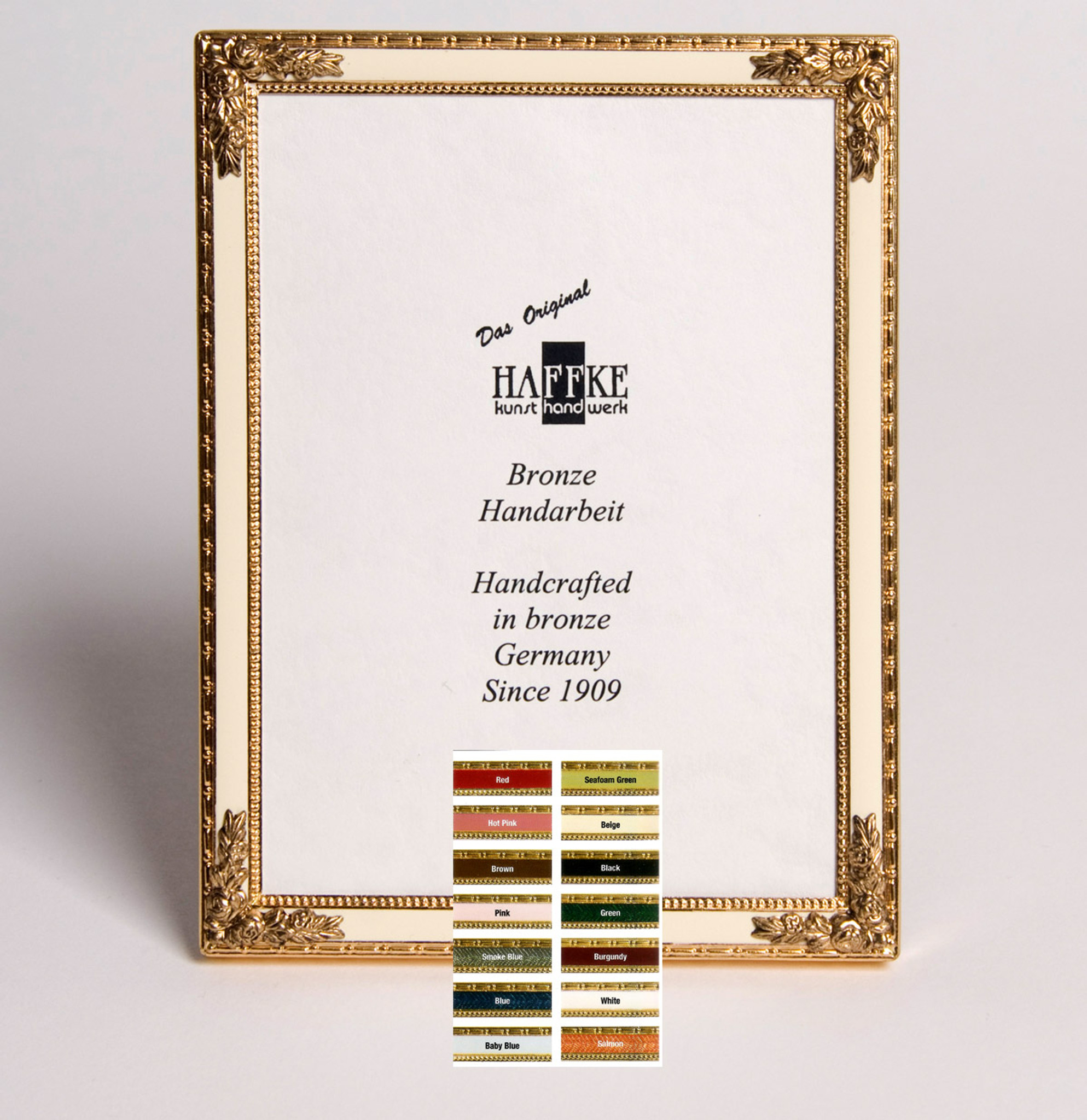 Haffke Bronze Enamel Picture Frame with Rose 2.5 x 3.5 Inch - HomeBello
