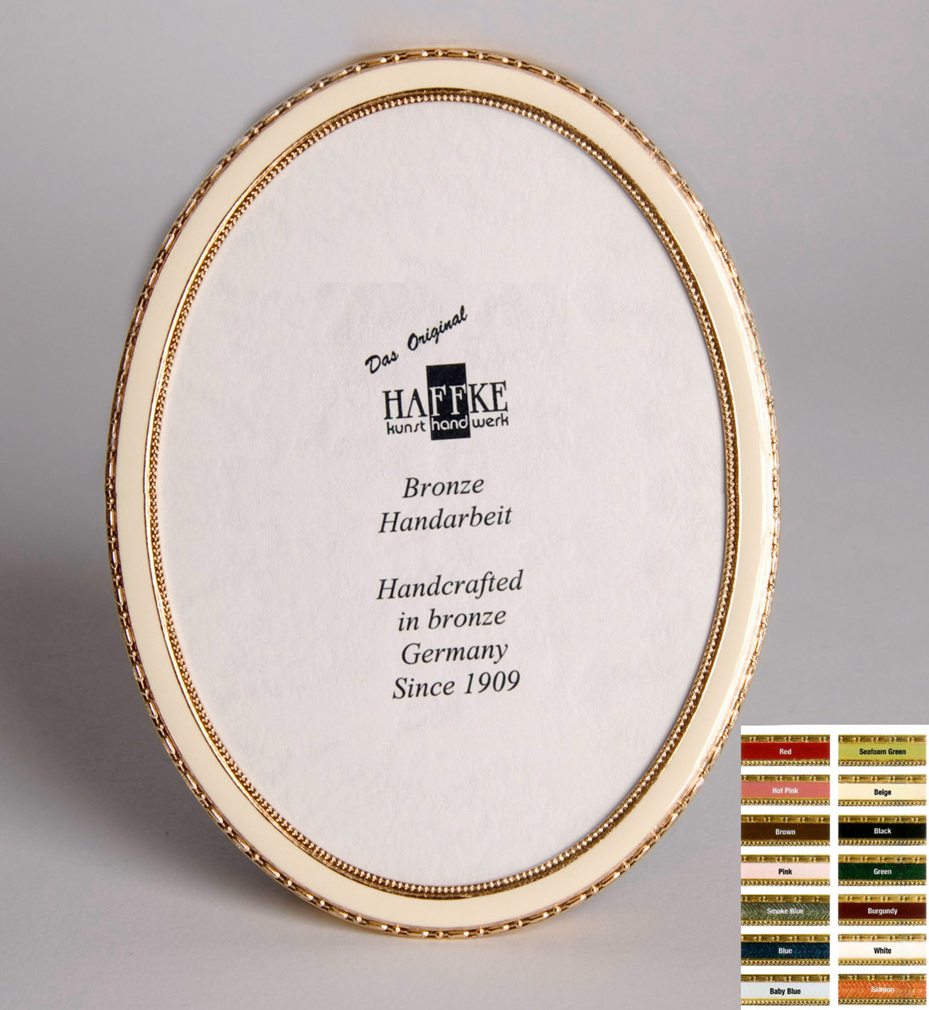 Haffke Bronze Enamel Oval Picture Frame without Rose 2.5 x 3.5 Inch ...