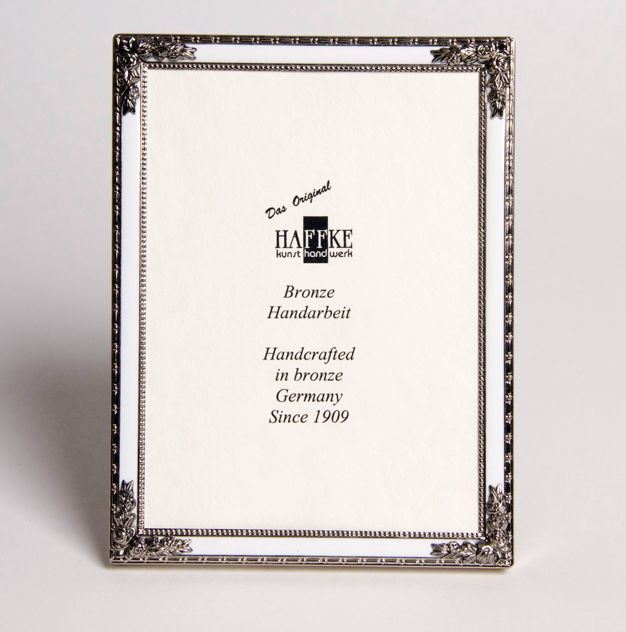 Haffke Silver Enamel Picture Frame with Rose 2.5 x 3.5 Inch - HomeBello
