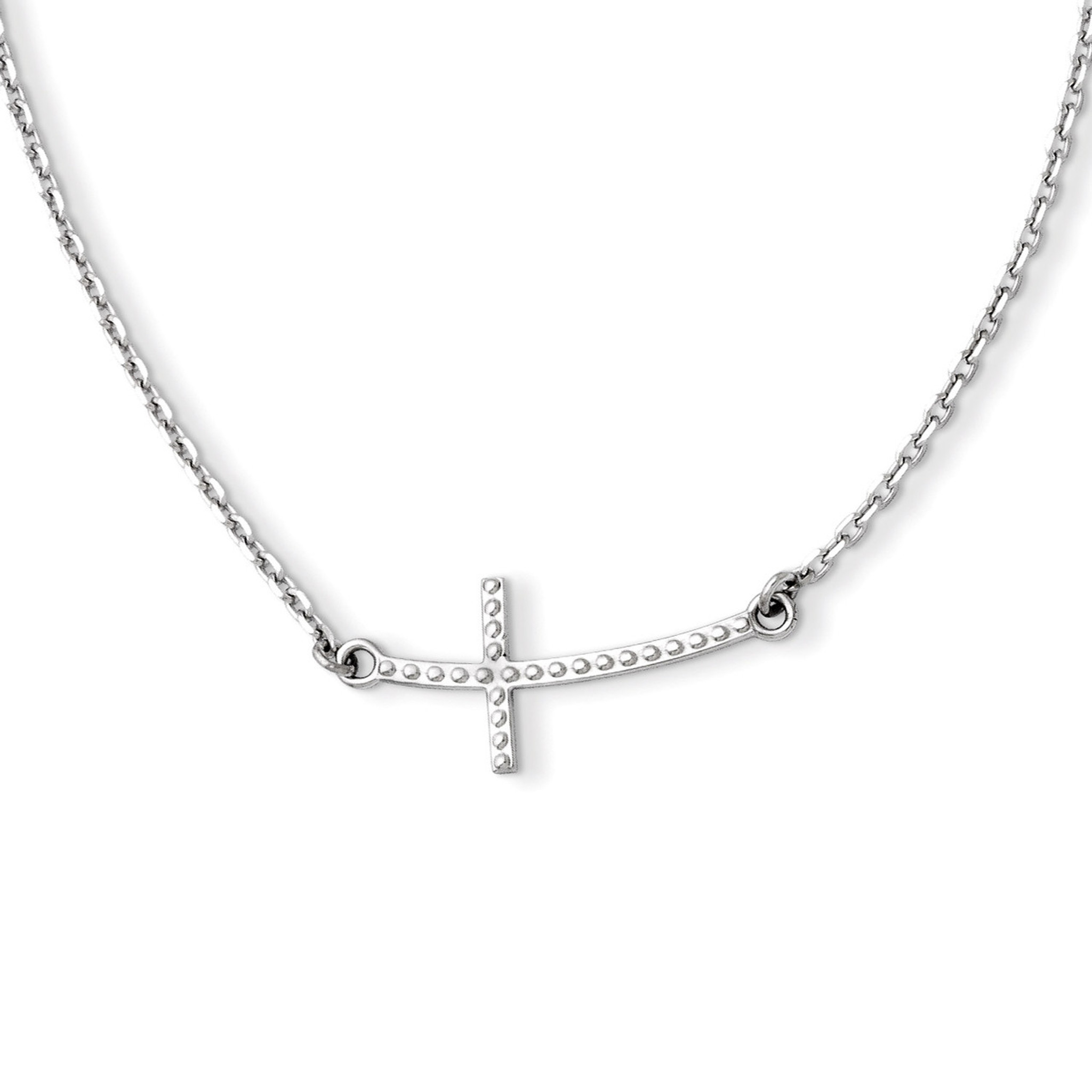 Sideways Curved Cross Necklace: Sideways Curved Textured Cross Necklace 14k White Gold