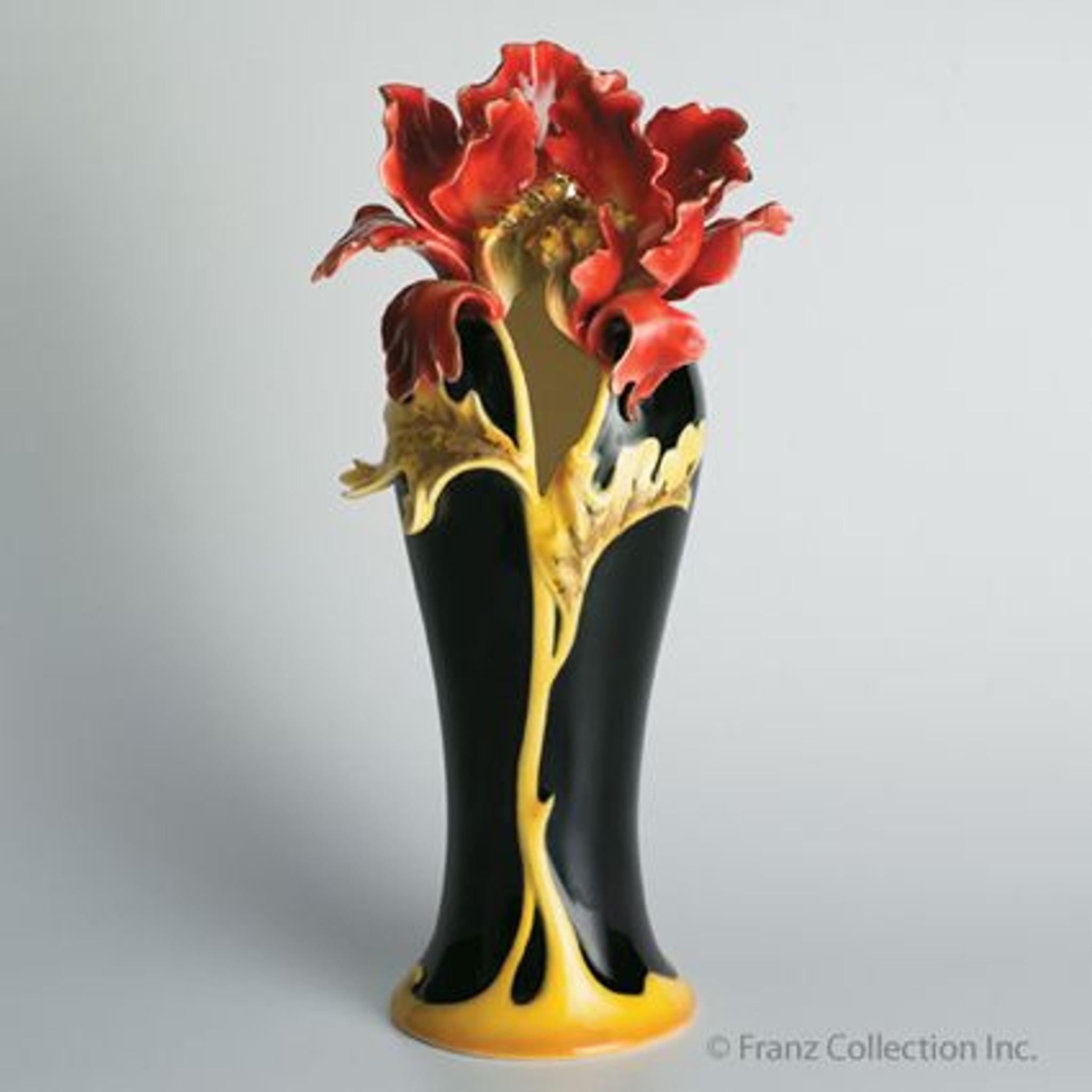 Franz Porcelain Striking Vermillion Peony Vase Fz00689 Upc
