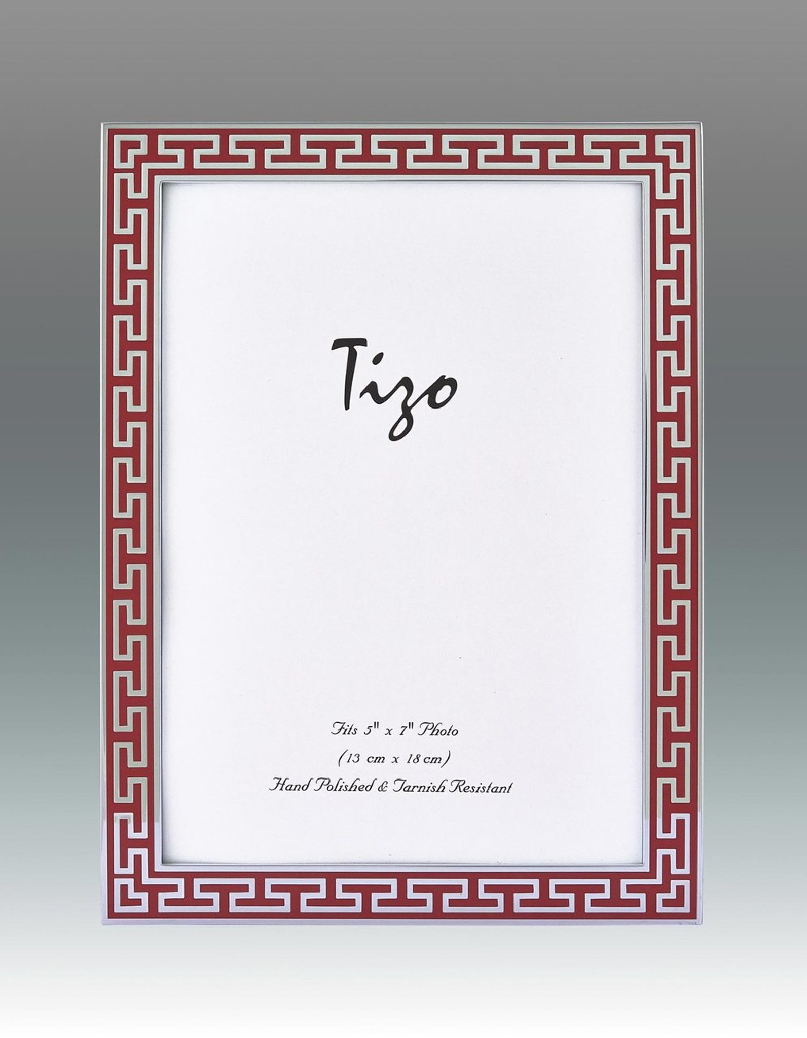 Tizo Red Greek Key Enamel Picture Frame 4 x 6 Inch - HomeBello