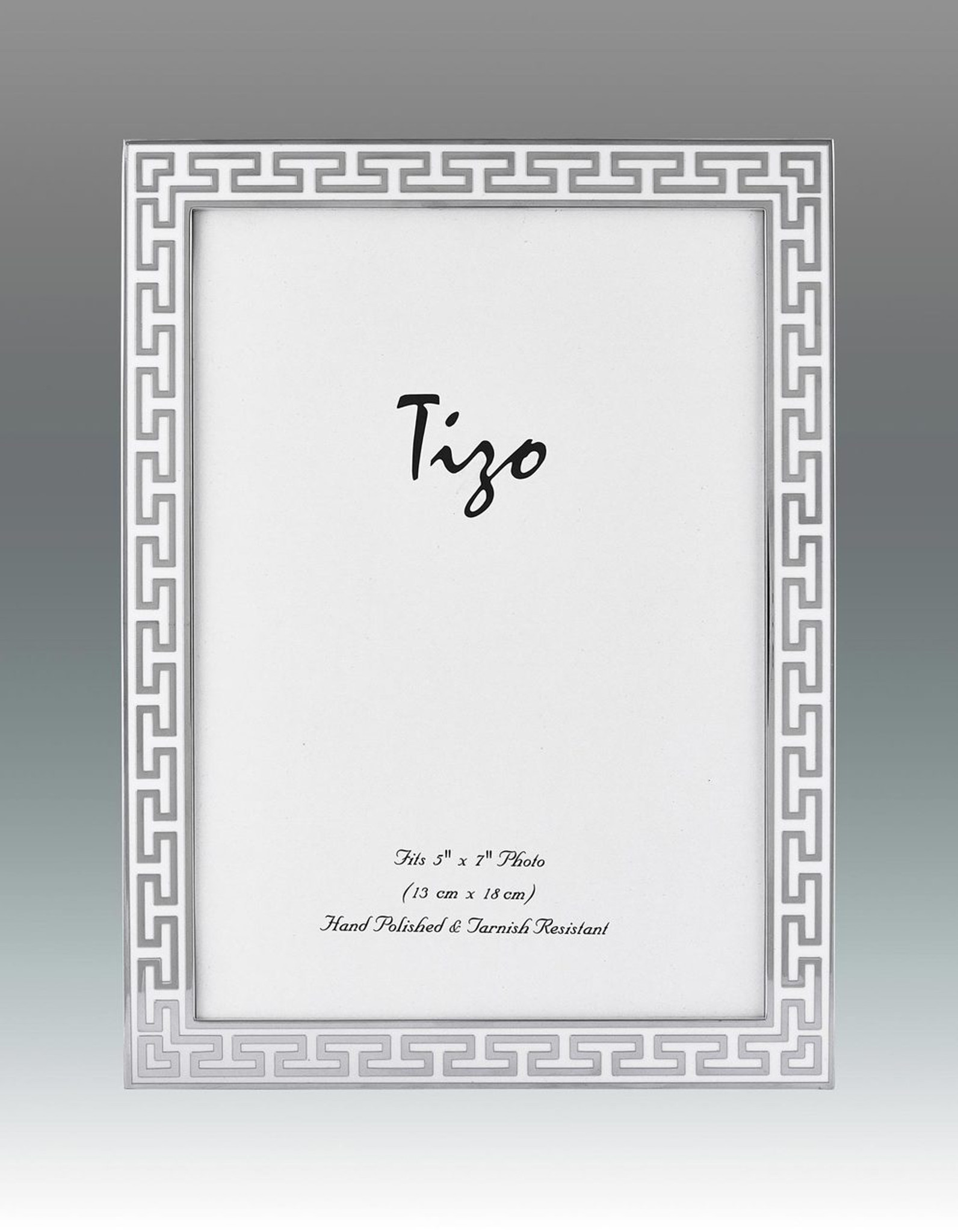 Tizo White Greek Key Enamel Picture Frame 4 x 6 Inch - HomeBello