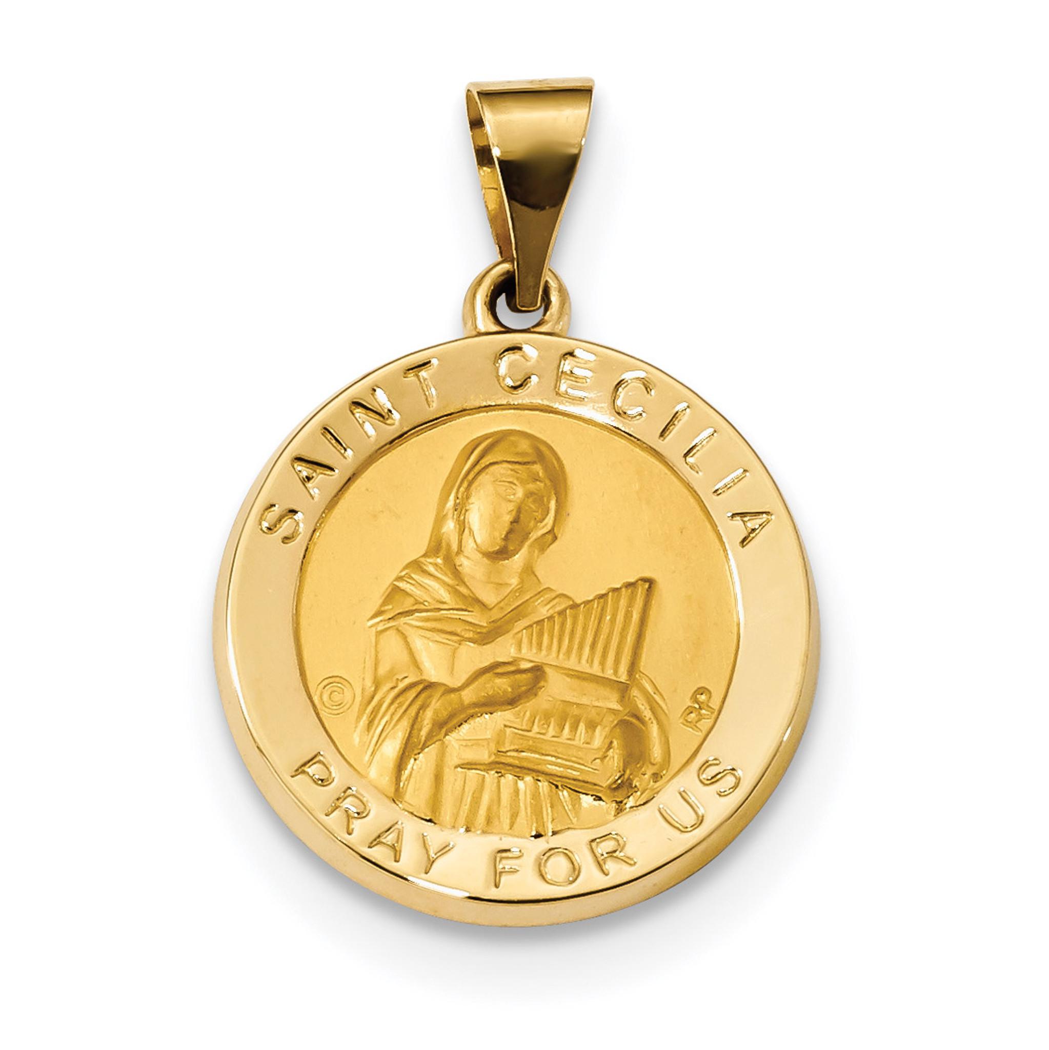 Satin saint cecilia hollow medal pendant 14k gold polished xr1683 satin saint cecilia hollow medal pendant 14k gold polished mpn xr1683 mozeypictures Choice Image