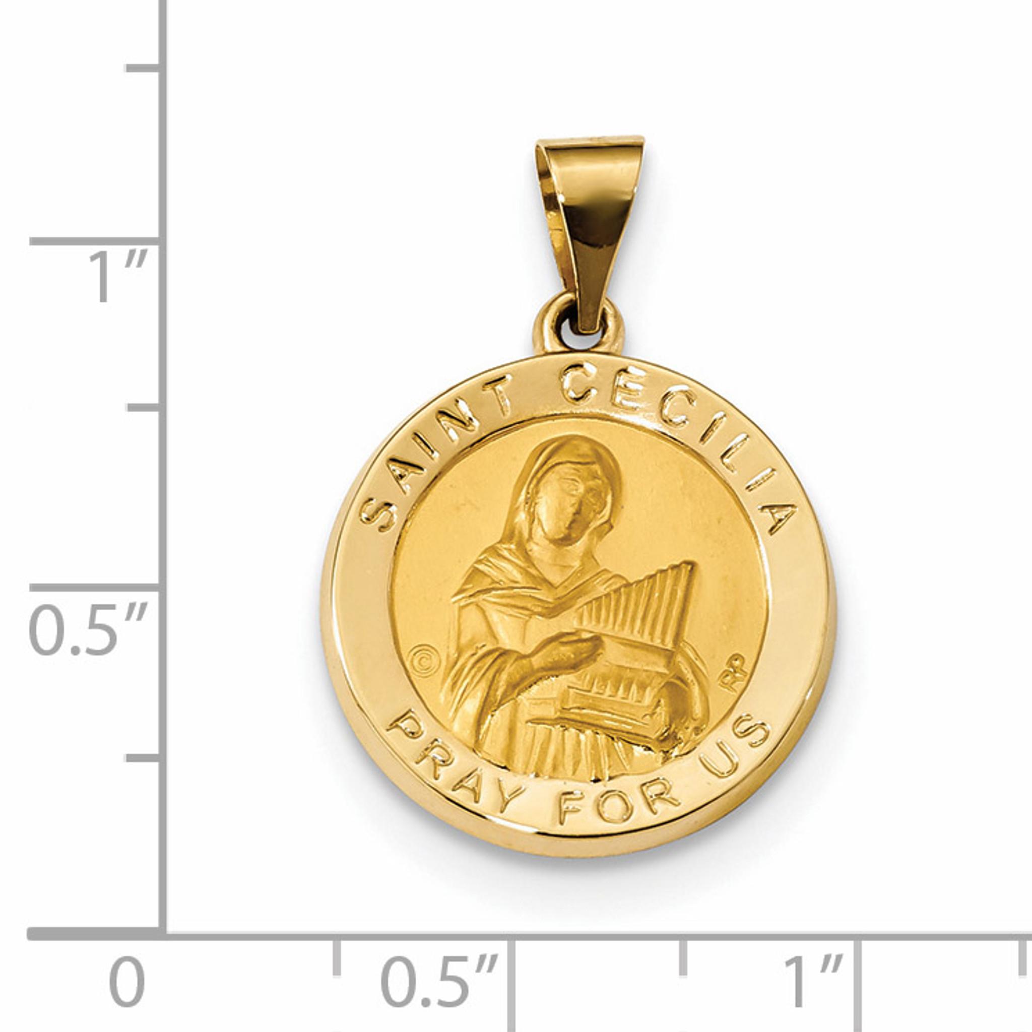 Satin saint cecilia hollow medal pendant 14k gold polished xr1683 satin saint cecilia hollow medal pendant 14k gold polished xr1683 aloadofball Image collections