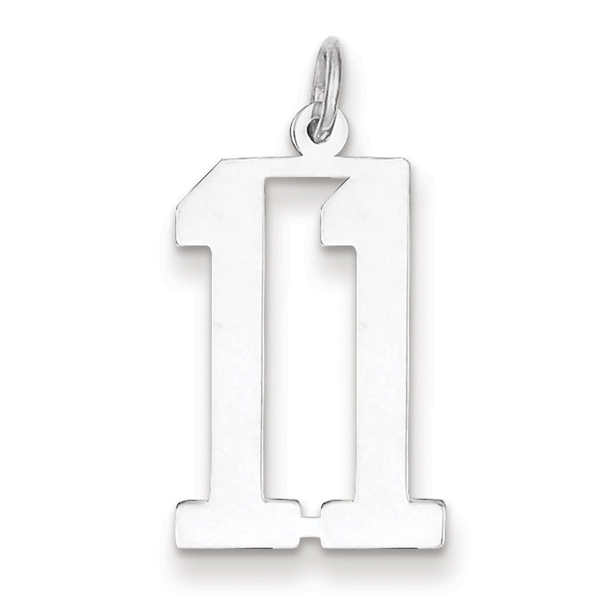 Charm Number 11 Elongated Pol Sterling Silver Small Qes11