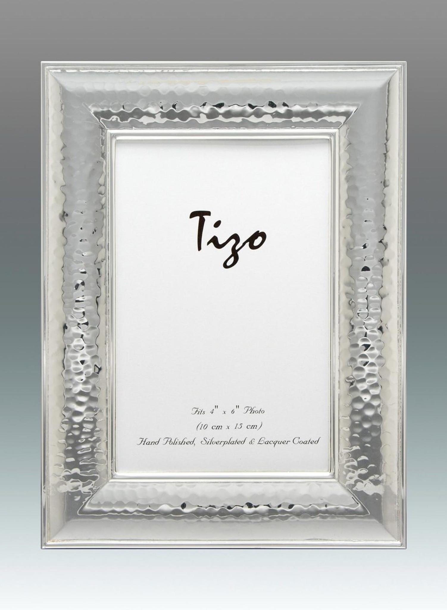 Tizo Tick Hammered 5 x 7 Inch Silver Plated Picture Frame - HomeBello
