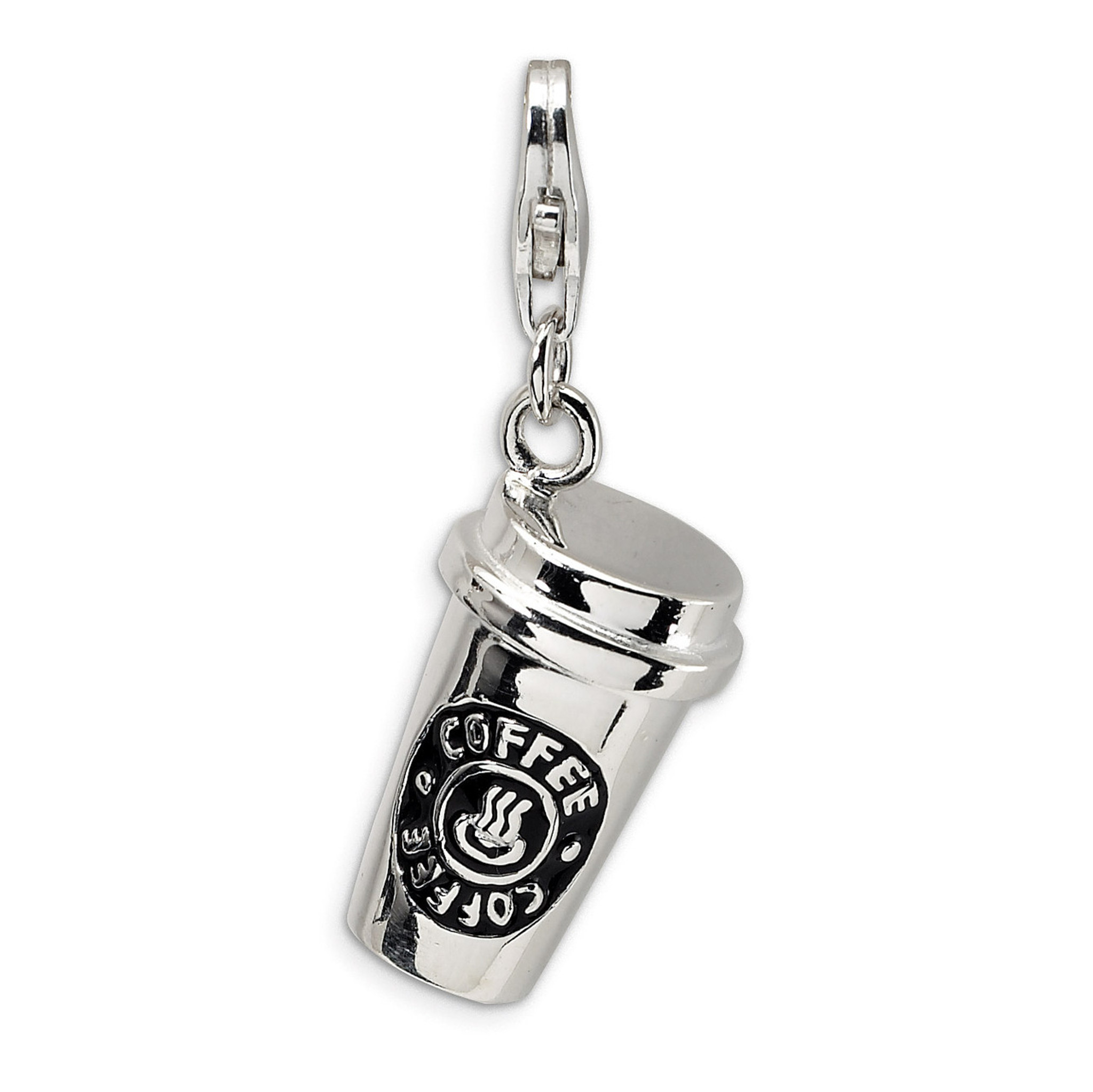 3-D Enameled To Go Coffee Cup Charm Sterling Silver by ... - photo#21