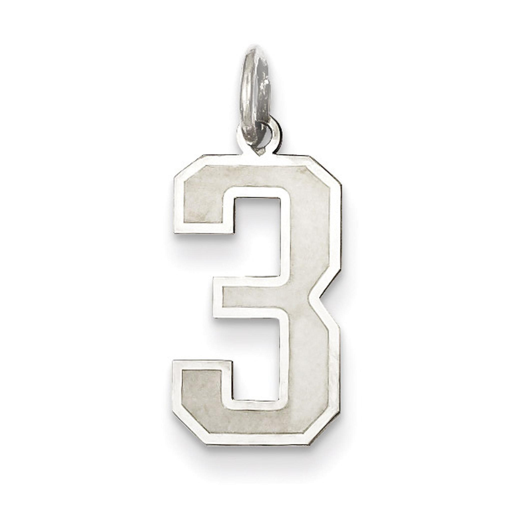 Medium satin number 3 pendant sterling silver homebello medium satin number 3 pendant sterling silver mpn qpm03 mozeypictures Images