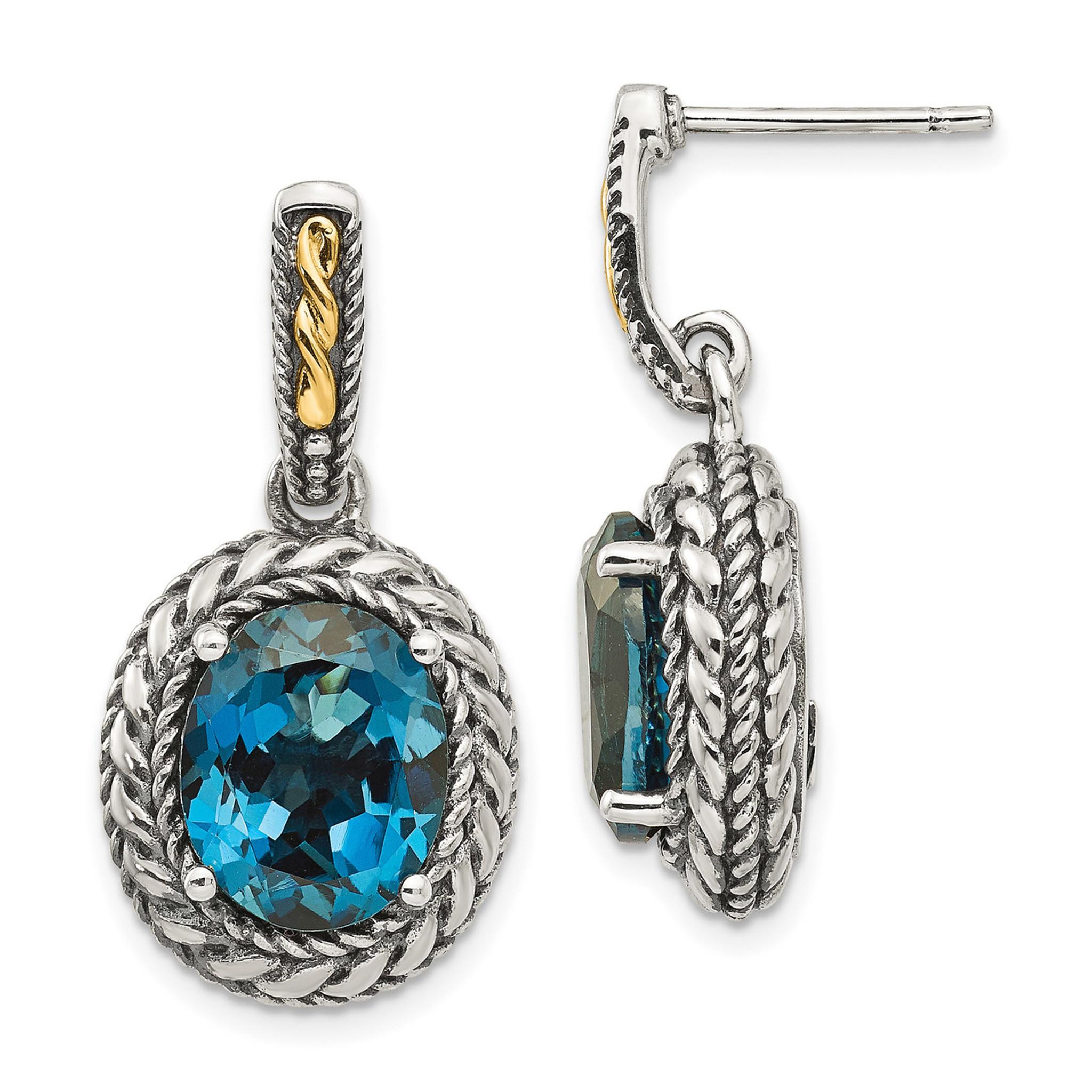 london blue topaz earrings sterling silver 14k gold by. Black Bedroom Furniture Sets. Home Design Ideas