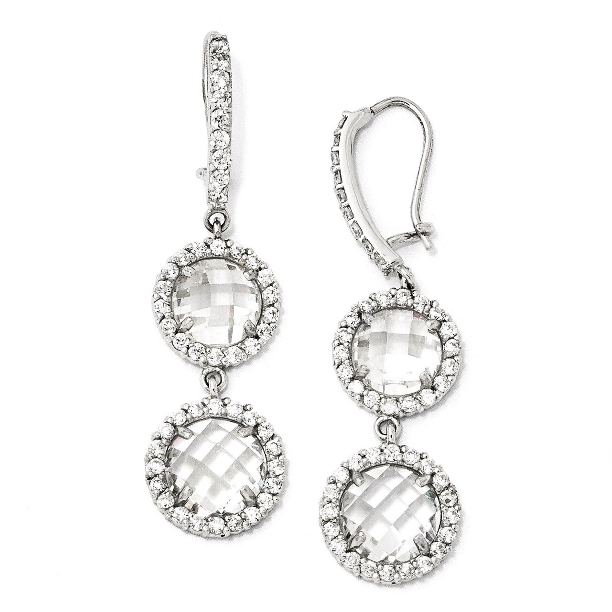 Cheryl M Checker-cut Cubic Zirconia 2-stone Kidney Wire Earrings ...
