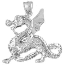 Dragon Charm Bracelet or Pendant Necklace in Yellow, White or Rose Gold DZ-2376 by Dazzlers