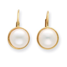 6-7mm White Cultured Button Pearl Leverback Earrings 14k Gold XF265E