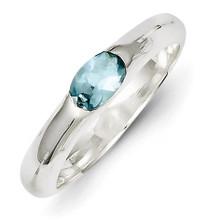 Sterling Silver Light Blue Oval Diamond Half Bezel Ring MPN: QR4403-6