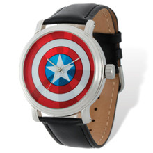 Marvel Captain America Black Leather Band Watch Adult Size MPN: XWA4984