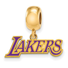 Los Angeles Lakers Bead Charm Small Dangle in Gold-plated Silver by LogoArt MPN: GP032LAK