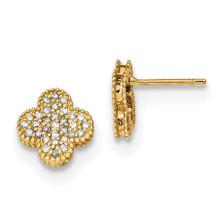 Diamond Quatrefoil Post Earrings 14k Gold MPN: YE1828