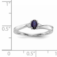 Created Blue Saphire Birthstone Ring Sterling Silver Rhodium-plated QBR25SEP