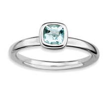 Cushion Cut Aquamarine Ring Sterling Silver MPN: QSK448 UPC: 886774004655 by Stackable Expressions