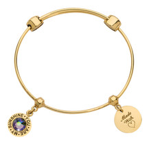 Nikki Lissoni Charm Bangle with Two Fixed Charms You Are My Sunshine Made with Love Gold-plated 17cm MPN: B1141G17 UPC: B1141G17_NIK