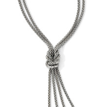 Polish Multi-strand Bead Dangle Knot Necklace Sterling Silver QLF847-20