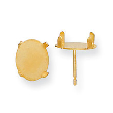 Oval Cabochon 12 x 10mm Earring Setting 14k Gold MPN: YG384-7 UPC: