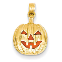 Enameled Inside 3-D Cut-Out Pumpkin Pendant 14k Gold K1733