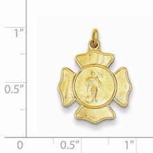 Saint Florian Fireman's Badge Medal 24k Gold-plated Sterling Silver QC5665