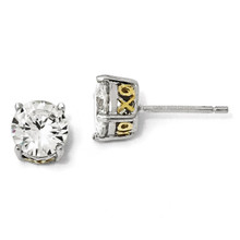 Cheryl M Gold Plated X O 6 5mm Cubic Zirconia Stud Earrings Sterling Silver Qcm247