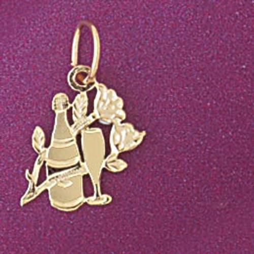 Wine Bottle Glass Pendant Necklace Charm Bracelet in Gold or Silver 6926
