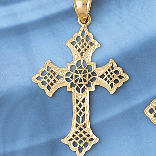 Cross Pendant Necklace Charm Bracelet in Gold or Silver 7852