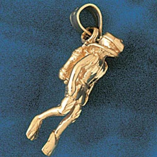 Scuba Diving Diver Pendant Necklace Charm Bracelet in Gold or Silver 1403