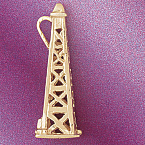 Oil Well Pendant Necklace Charm Bracelet in Gold or Silver 5234