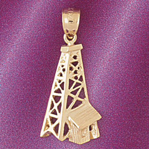 Oil Well Pendant Necklace Charm Bracelet in Gold or Silver 5236
