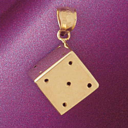 Dice Pendant Necklace Charm Bracelet in Gold or Silver 5433