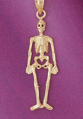 Skeleton Pendant Necklace Charm Bracelet in Gold or Silver 5595