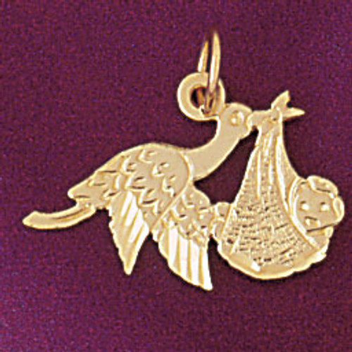 Stork Baby Pendant Necklace Charm Bracelet in Gold or Silver 5908