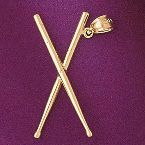 Drum Sticks Pendant Necklace Charm Bracelet in Gold or Silver 6242
