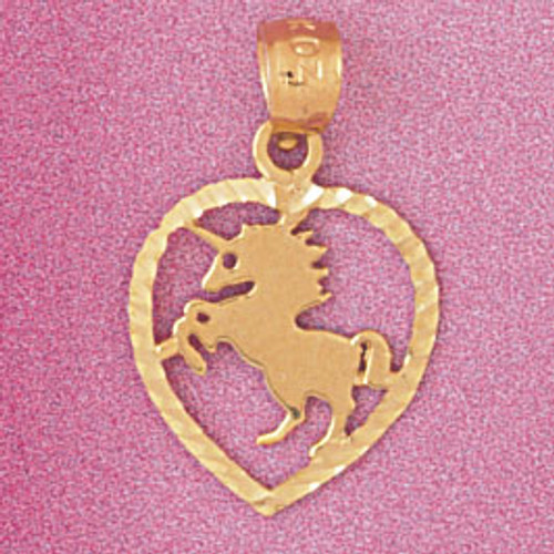 Horse Heart Pendant Necklace Charm Bracelet in Gold or Silver 3884