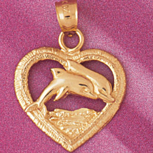 Dolphin in Heart Pendant Necklace Charm Bracelet in Gold or Silver 3894