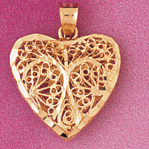 3 Dimensional Filigree Heart Pendant Necklace Charm Bracelet in Gold or Silver 3729