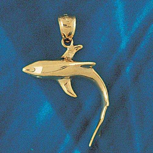 Shark Pendant Necklace Charm Bracelet in Gold or Silver 922