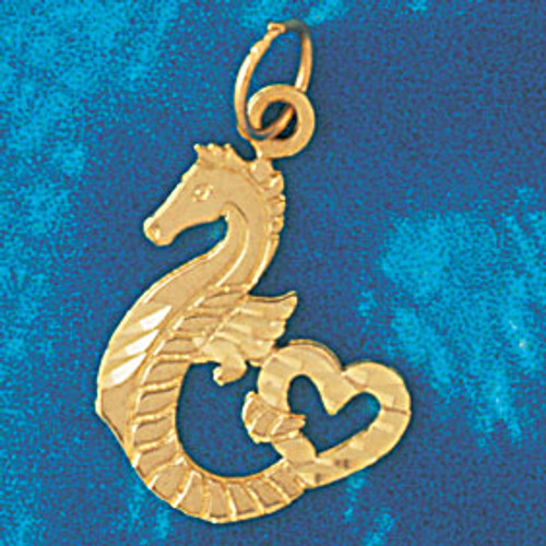 Seahorse with Heart Pendant Necklace Charm Bracelet in Gold or Silver 961