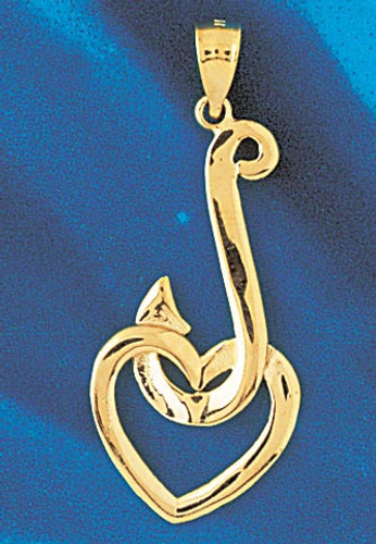 Fishing Hook Pendant Necklace Charm Bracelet in Gold or Silver 1208