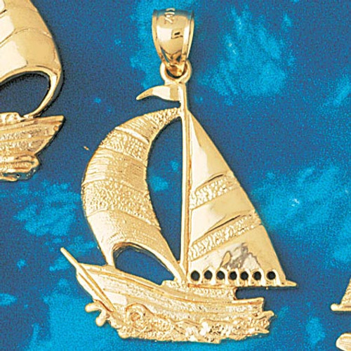 Sailboat Pendant Necklace Charm Bracelet in Gold or Silver 1220