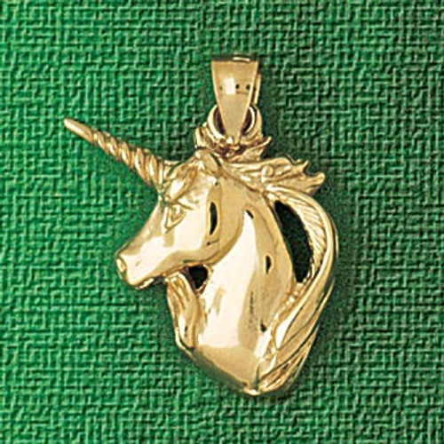 Unicorn Head Pendant Necklace Charm Bracelet in Gold or Silver 1889