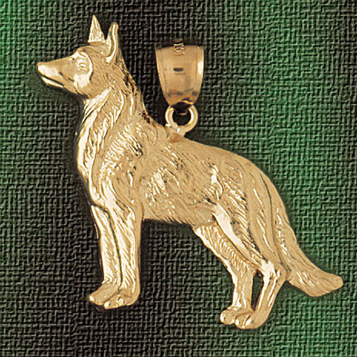 German Shepherd Dog Pendant Necklace Charm Bracelet in Gold or Silver 2142