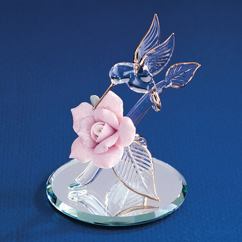 Hummingbird & Porcelain Rose Glass Figurine GL3734
