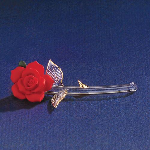 Red Porcelain Rose Glass Figurine GL3761