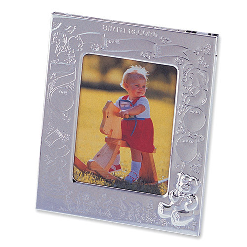 Silver-plated Birth Record 3 x 4 Inch Picture Frame GL611